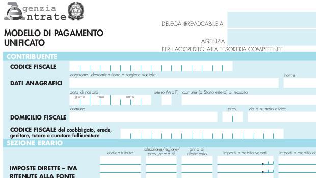 Modello F24 per registrazione atti e donazioni